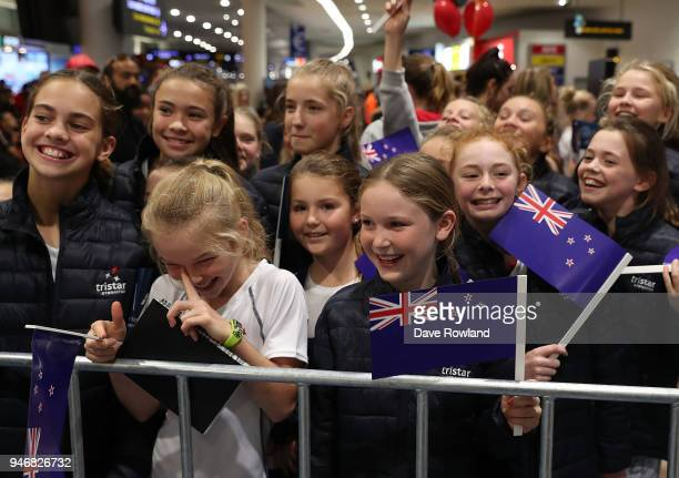 Young supporters during the Welcome Home Function at Novotel on April 16 2018 in Auckland New Zealand