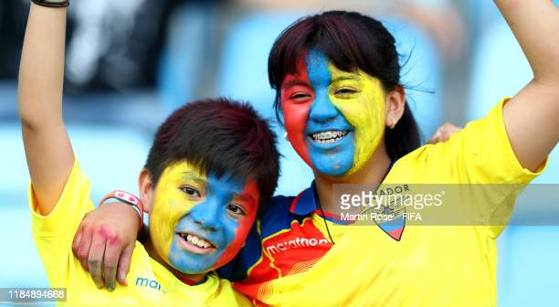 Young supporters of Ecuador cheer during the FIFA U17 World Cup Brazil 2019 Group B match between Hungary and Ecuador at Estadio Olimpico de Goias on...