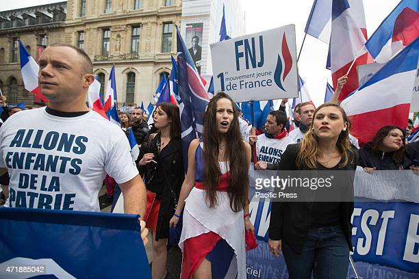 Young supporters of French farright partyFront National participate in the annual party's rally in honor of Jeanne d'Arc