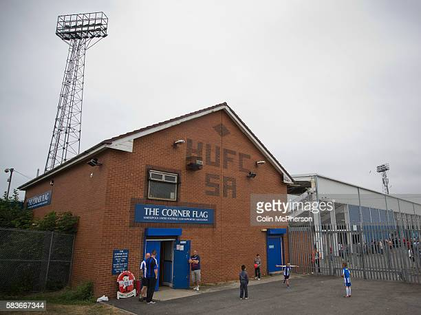 Young supporters of Hartlepool United playing football outside one of the bars at the Victoria Ground Hartlepool before the preseason friendly...