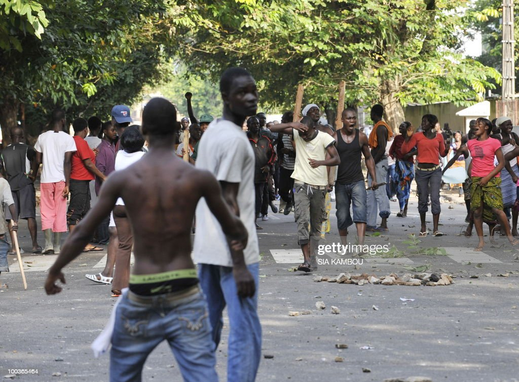 Young supporters of Ivorian President Laurent Gbagbo protest on May 24, 2010 against a decision of the municipality of Abidjan to evacuate them from the Sorbonne area of the Plateau business neighborhood of the economic capital. The Sorbonne area of the Plateau neighborhood has been a meeting place for the so-called Patriots for months.
