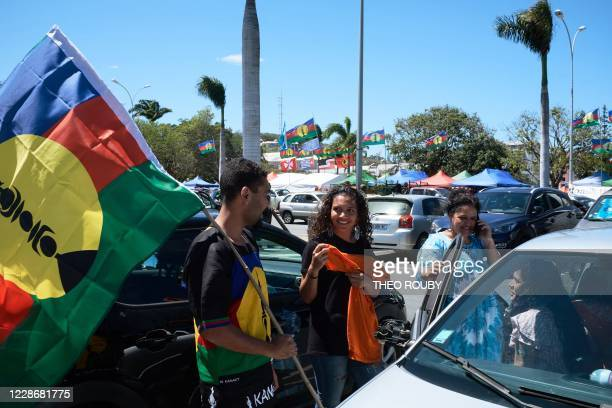 Young supporters of the Kanak independence movement take part in a symbolic day to mark the taking of possession of New Caledonia by France on...