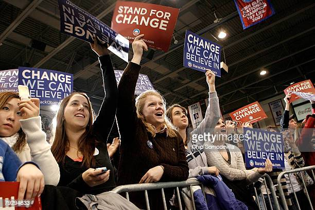 Young supporters wave signs and cheer during a campaign rally for Sen Barack Obama at American University January 28 2008 in Washington DC Obama...