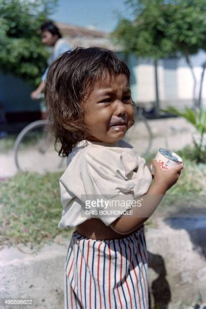A young survivor of the volcano Nevado Del Ruiz eruption is crying in Armero on November 17 1985 The longdormant Nevado del Ruiz volcano quite since...