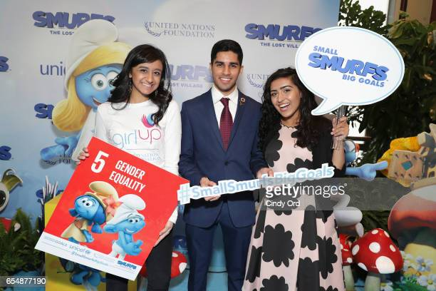 Young Sustainable Development Goals Advocates Sarina Divan Karan Jerath and Noor Samee pose at the United Nations Headquarters celebrating...