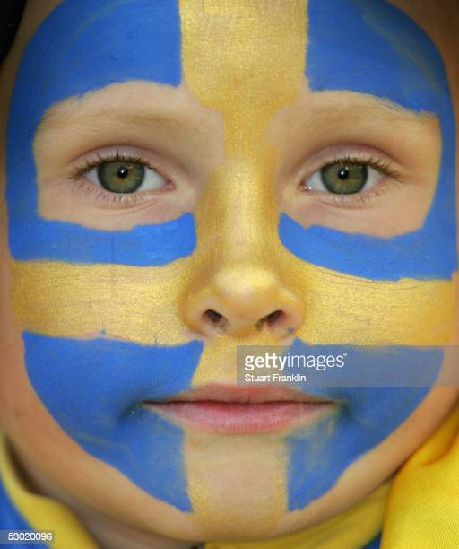 Young Swedish football fan during The World Cup 2006 Qualification match between Sweden and Malta at The Ullevi Stadium on May 24, 2005 in...