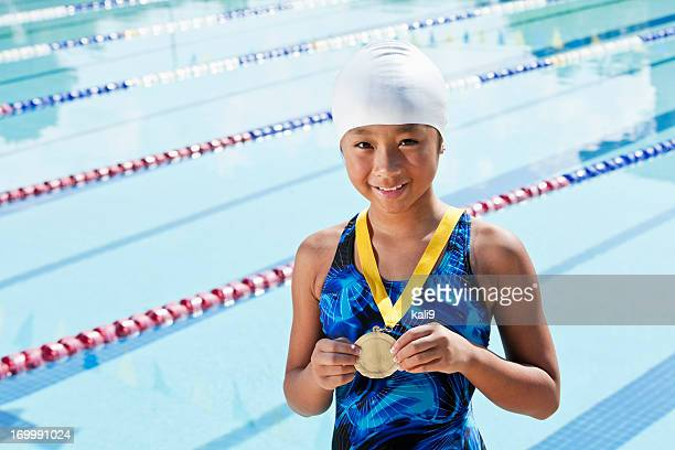 young swimmer with a medal - medalist stock pictures, royalty-free photos & images