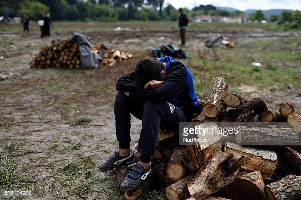A young Syrian refugee takes a rest as he sits on a pile of firewood in a firewood distribution point at Idomeni refugee camp on May 3'rd 2016...