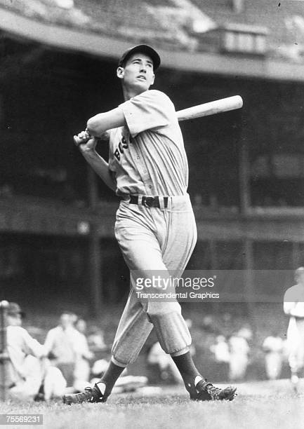 Young Ted Williams takes some swings for the photographers before a game at Fenway Park in Boston in 1941