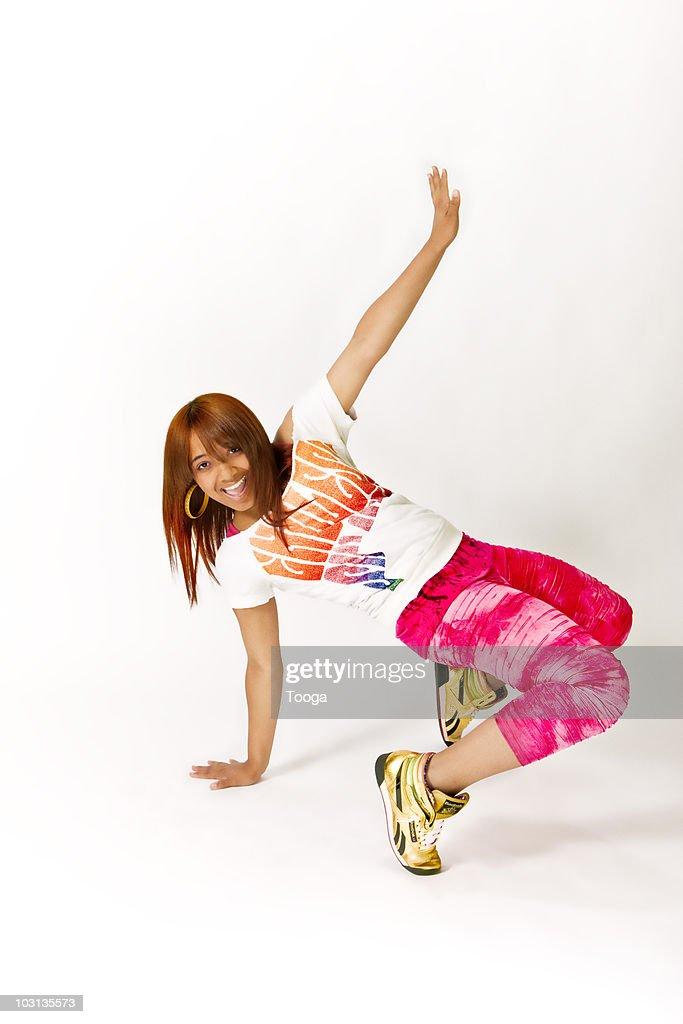 Young teen dancing : Bildbanksbilder