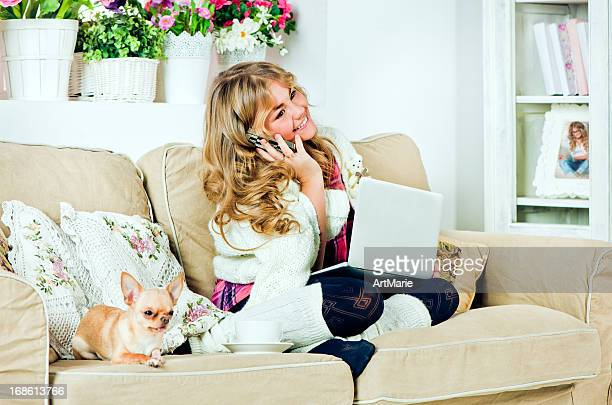 Young teen girl in home