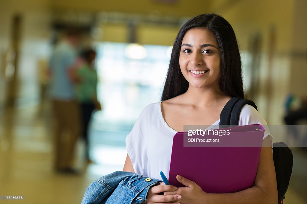 Young Teen Indian Female Student In Large High School Hallway Stock Photo  Getty Images-3632