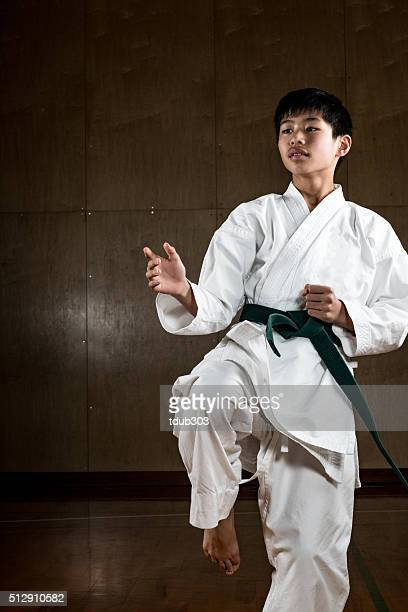 Young teen practicing karate