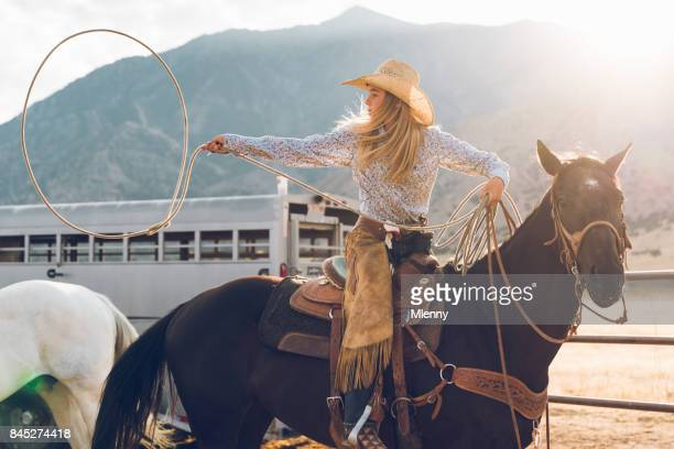 Young Teenage Cowgirl Lasso Training