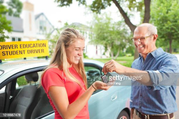 Young Teenage Girl Student Driver with Her New Car
