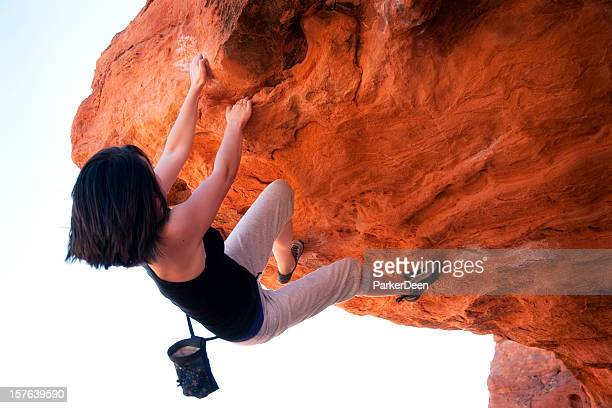 Young Teenager Rock Climbing in Red Rocks