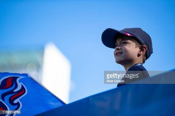 Young Tennessee Titans fan watches game action during the second quarter against the Kansas City Chiefs at Nissan Stadium on November 10, 2019 in...