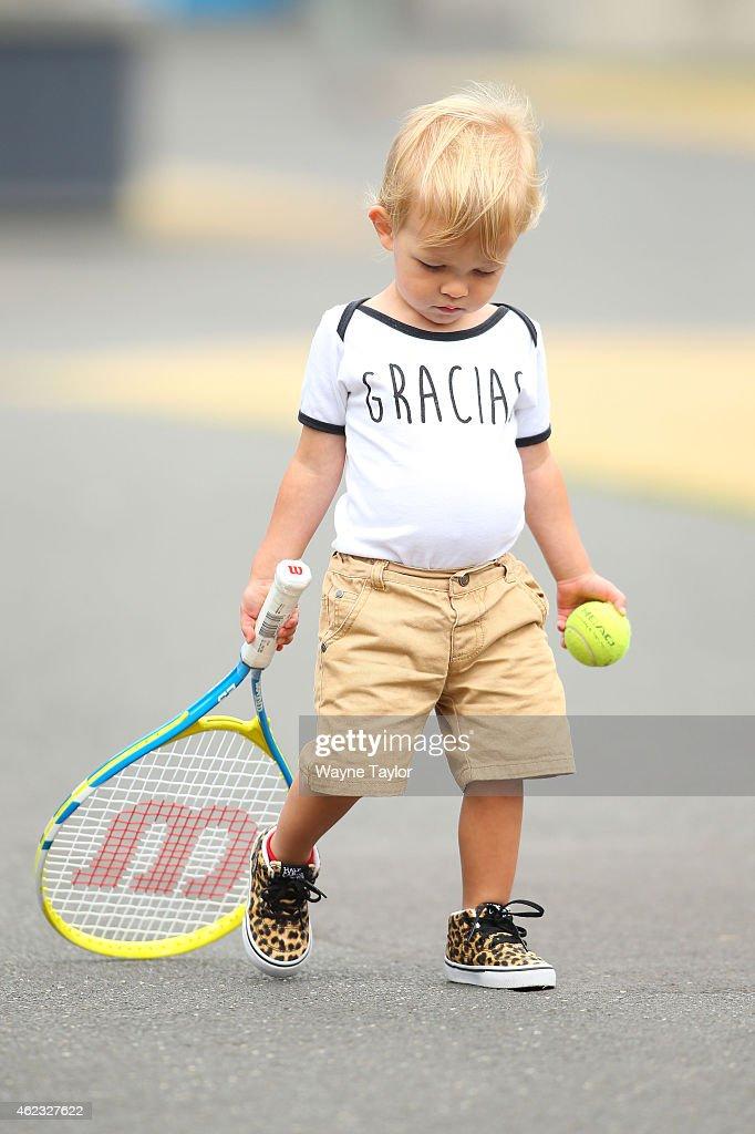 A young tennis fan attends the Australian Open during day nine of the 2015 Australian Open at Melbourne Park on January 27, 2015 in Melbourne, Australia.