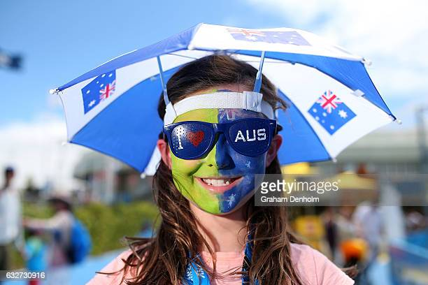 A young tennis fan shows her support for Australia on day 11 of the 2017 Australian Open at Melbourne Park on January 26 2017 in Melbourne Australia
