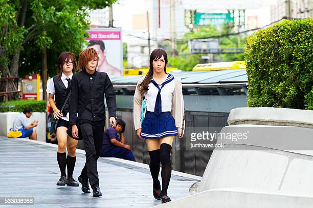 young thai men in japanese style - young crossdressers stock photos and pictures