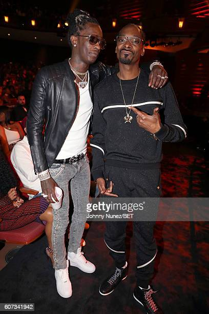 Young Thug and Snoop Dogg attends the BET Hip Hop Awards 2016 at Cobb Energy Performing Arts Center on September 17 2016 in Atlanta Georgia