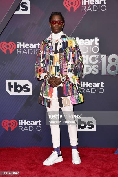 Young Thug arrives at the 2018 iHeartRadio Music Awards which broadcasted live on TBS TNT and truTV at The Forum on March 11 2018 in Inglewood...