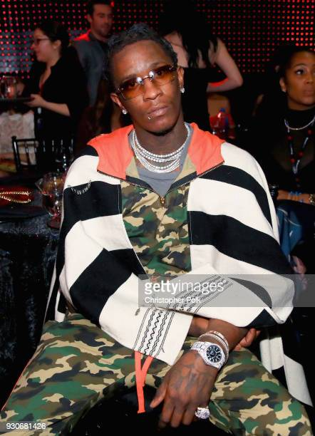 Young Thug attends the 2018 iHeartRadio Music Awards which broadcasted live on TBS TNT and truTV at The Forum on March 11 2018 in Inglewood California