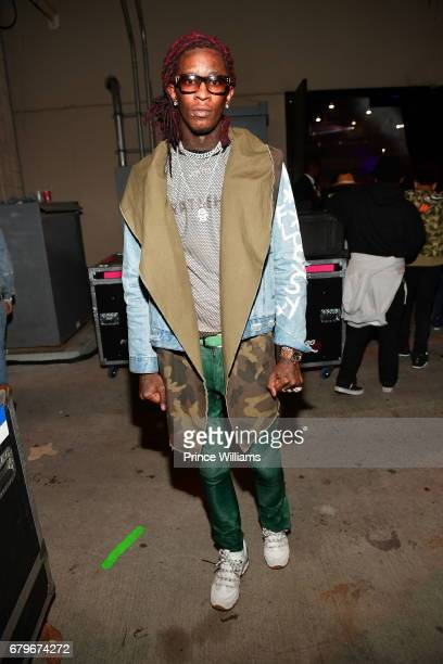 Young Thug backstage during Future's 'Nobody Safe' tour at Lakewood Amphitheatre on May 5 2017 in Atlanta Georgia