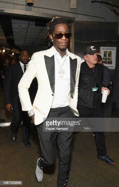 Young Thug backstage during the 61st Annual GRAMMY Awards at Staples Center on February 10 2019 in Los Angeles California