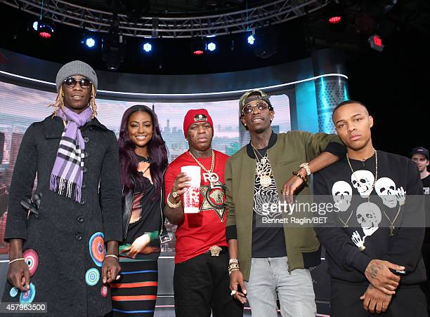 Young Thug Justine Skye Birdman Rich Homie Quan and Shad Moss attend 106 Park at BET studio on October 27 2014 in New York City