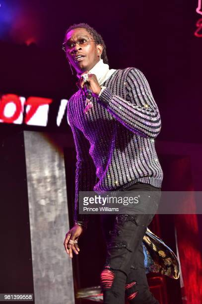 Young Thug performs at Birthday Bash 2018 at Cellairis Amphitheatre at Lakewood on June 16 2018 in Atlanta Georgia