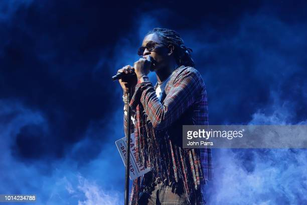 Young Thug performs on stage for J Coles KOD Tour Opener at American Airlines Arena on August 9 2018 in Miami Florida