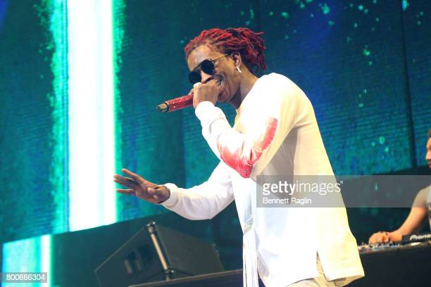 Young Thug performs onstage at night three of the STAPLES Center Concert sponsored by Sprite during the 2017 BET Experience at Staples Center on June...