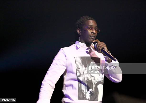 Young Thug performs onstage at the STAPLES Center Concert Sponsored by SPRITE during the 2018 BET Experience on June 23 2018 in Los Angeles California