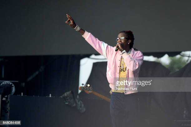 Young Thug performs onstage during the Meadows Music and Arts Festival Day 2 at Citi Field on September 16 2017 in New York City