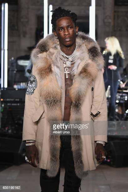 Young Thug walks the runway for the Philipp Plein collection during New York Fashion Week The Shows at New York Public Library on February 13 2017 in...