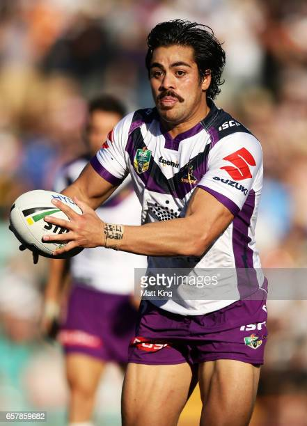 Young Tonumaipea of the Storm during the round four NRL match between the Wests Tigers and the Melbourne Storm at Leichhardt Oval on March 26 2017 in...