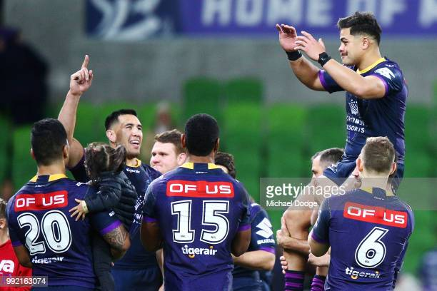Young Tonumaipea of the Storm is carried off after playing his last match for the Storm during the round 17 NRL match between the Melbourne Storm and...