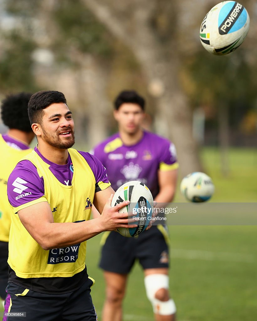 Young Tonumaipea of the Storm warms up during a Melbourne Storm media session at Gosch's Paddock on August 6, 2015 in Melbourne, Australia.