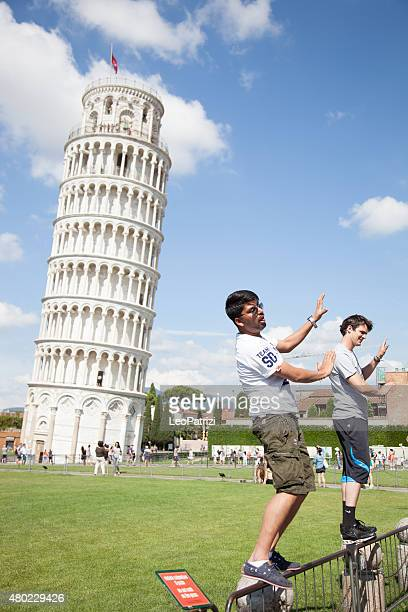 young tourist having fun in pisa - pisa stock pictures, royalty-free photos & images
