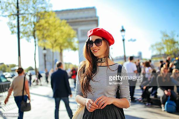 Young tourist woman enjoying Paris