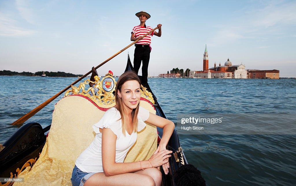 Young tourist woman on gondola : Stock Photo