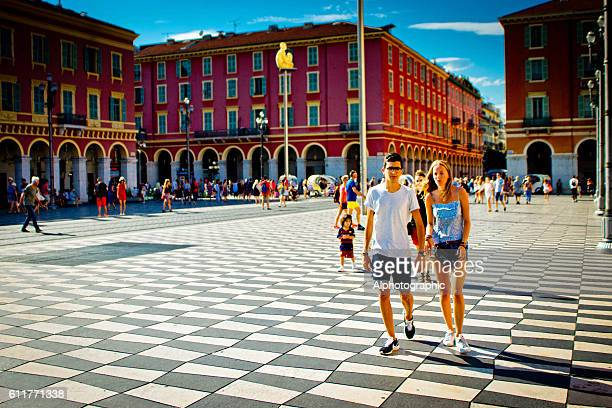 Young tourists in Place Massena Nice, France