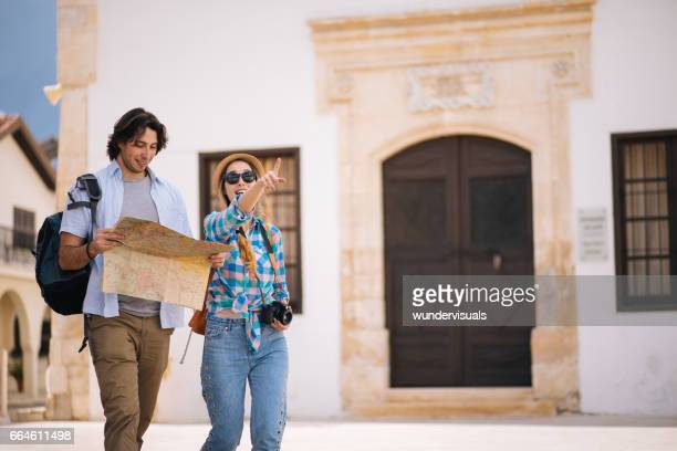 Young tourists visiting an old European town