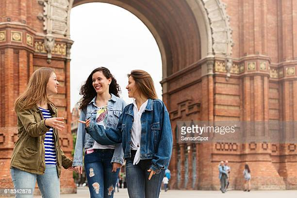 Young tourists walking and having fun in Barcelona