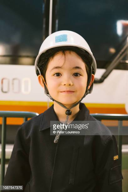 young train engineer - kids costume engineer stock photos and pictures
