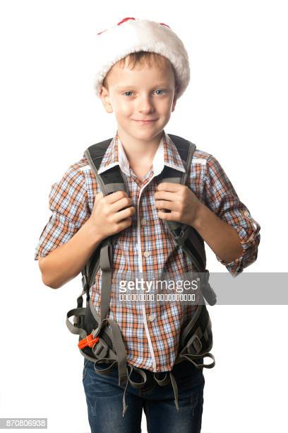 Young traveler man with a backpack.