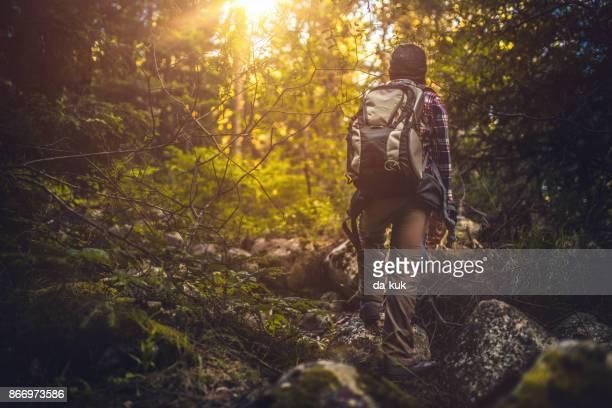 Jonge reiziger lopen alleen in het bos bij zonsondergang