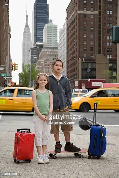 Young travelers in city