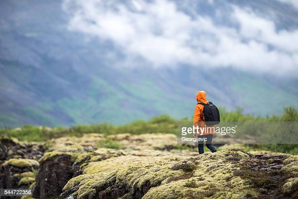 Young traveller with backpack
